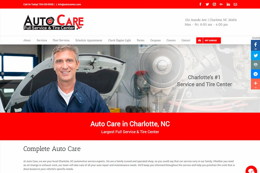 Auto Care - Web Design by Infinity Pxl in Indian Trail, NC